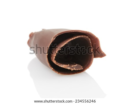 peeled chocolate curl, isolated on white background