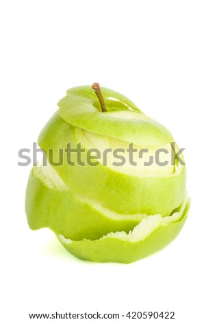 Peeled green apple isolated on white background - stock photo