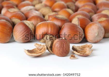 peeled hazelnut on white background - stock photo