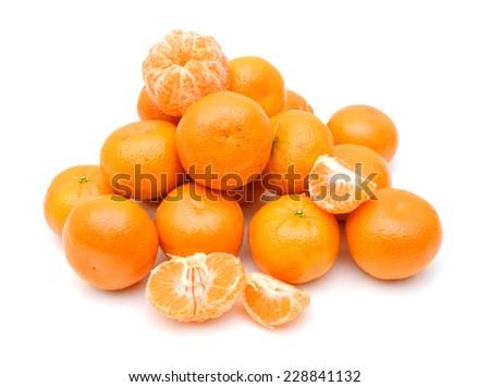 peeled mandarin segment isolated on white background  - stock photo