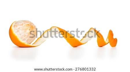 peeled orange peel in a spiral isolated on a white background - stock photo