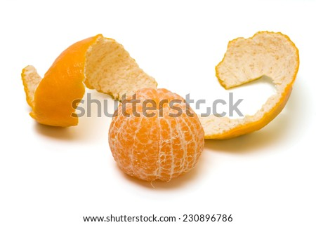Peeled orange slice isolated on white background - stock photo