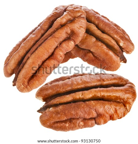 Peeled pecan nuts close up,   isolated on white background - stock photo
