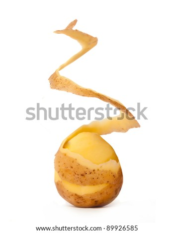 peeled potato isolated on a white background - stock photo