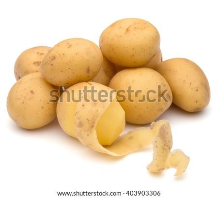 peeled potato tuber with peel spiral isolated on white background cutout - stock photo
