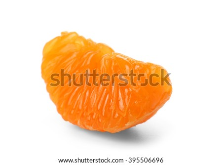 Peeled slice of juicy tangerine isolated on white background, close up