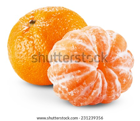 Peeled tangerine or mandarin fruit isolated on white background cutout. Clipping path - stock photo