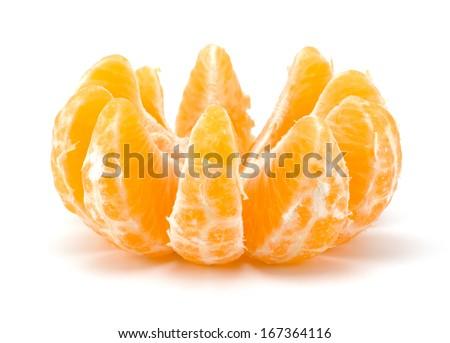 Peeled tangerine segments isolated on white background - stock photo