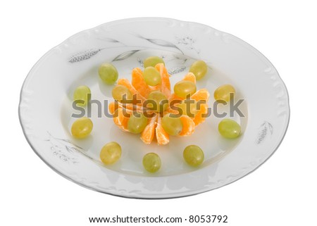 peeled tangerines and grapes on peeled tangerines and grapes on