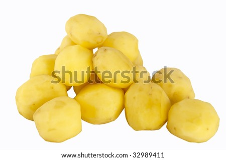 Peeled Washed Baby Potatoes with Clipping Path - stock photo