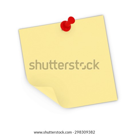 Peeling Blank Yellow Sticky Note Pinned to white background - stock photo