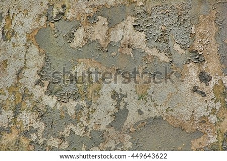 Peeling blistered paint on rotting stucco, with mildew. You can't get much grungier than that! - stock photo