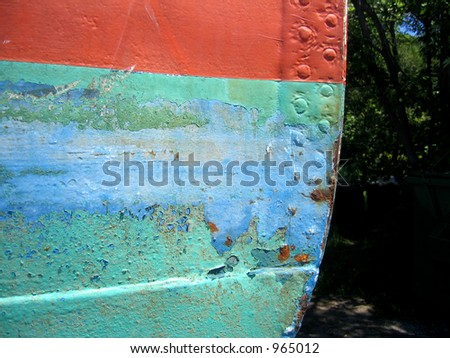 Peeling paint on steel boat hull #5