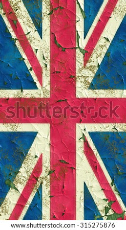 Peeling paint United Kingdom flag - stock photo