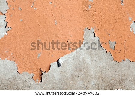peeling painted cement wall - stock photo