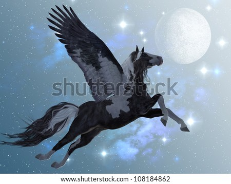Pegasus 03 - A beautiful black and white Pegasus flies up into the sky on long feathered wings. - stock photo