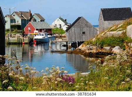 Peggy's Cove, Nova Scotia in summer. - stock photo