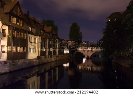 pegnitz river in nuernberg germany at night