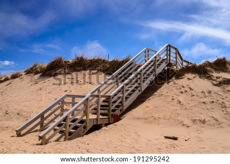 PEI Cavendish beach steps buried in the sand