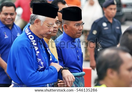 PEKAN, MALAYSIA - APRIL 20 : Prime minister Mohd Najib Abdul Razak during 13th  nomination day on April 20, 2013 in Pekan, Pahang, Malaysia. Malaysian Prime Minister dissolved Parliament on April 3rd.