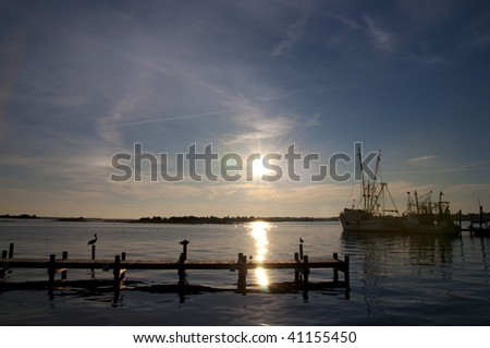 Pelicans and Shrimp Boats at Dusk in Swansboro, North Carolina