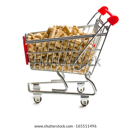 pellets in shopping cart on white background - stock photo