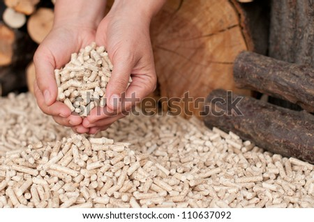 Pellets- selective focus on the heap and the hand - stock photo