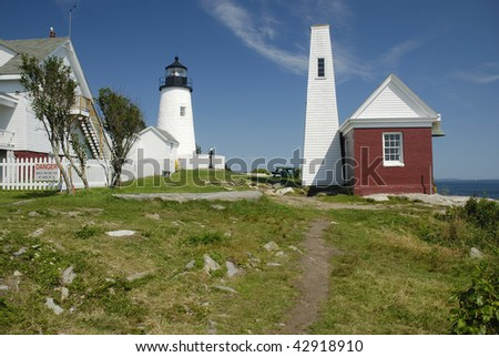 Pemaquid Point Lighthouse and outlying buildings are a gathering place for family picnicks and East Coast Tourists.