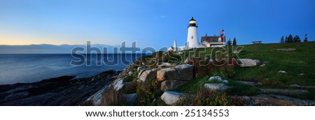 Pemaquid Point Lighthouse In Pre Dawn Light, Bristol, Maine