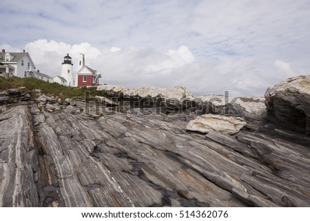 Pemaquid Point Lighthouse located on the Maine coast.  In Bristol,  Lincoln county.