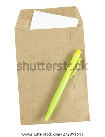 Pen and Brown envelope document with paper isolated on white background - stock photo