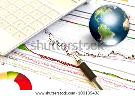 Pen and business graph with earth  (Elements of this image furnished by NASA) - stock photo