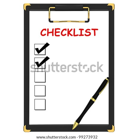 Pen and check boxes - stock photo