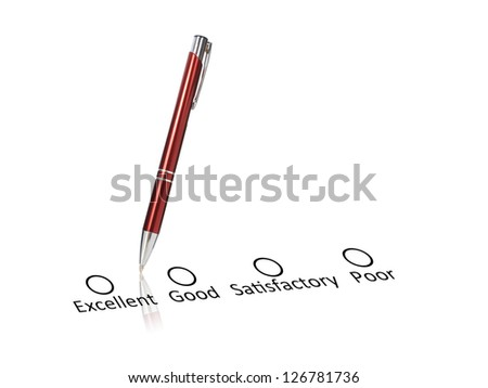 Pen and checklist isolated over white background. - stock photo