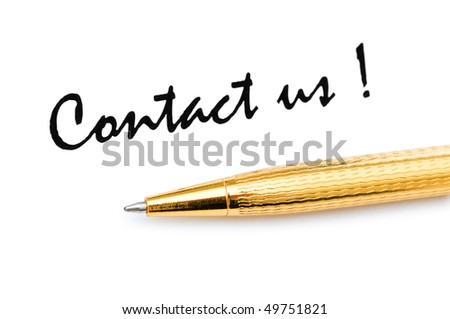 Pen and contact us message on white - stock photo