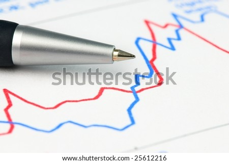 pen and financial graph