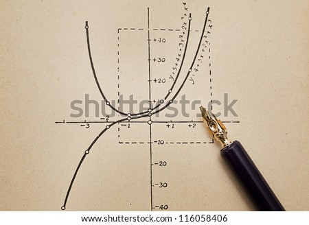 Pen and graph, old paper, concept of science, education - stock photo