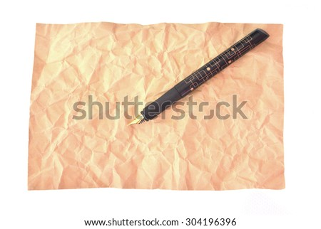 Pen and paper isolated - stock photo