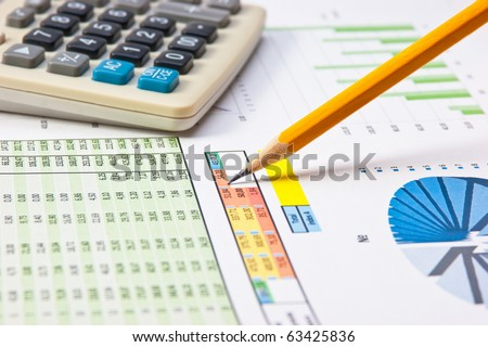 pen and paper work with the diagram - stock photo