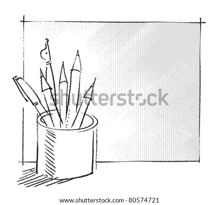 pen and pencils in a can, freehand drawing - raster version - stock photo