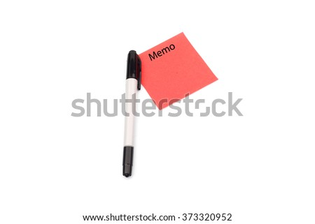 Pen and red memo paper - stock photo