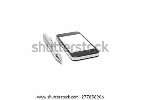 pen and smart phone isolated on white background