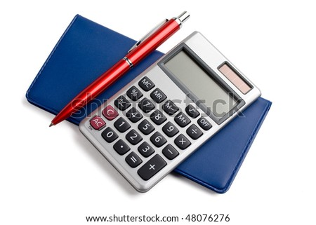 pen,calculator and checkbook isolated on white background. - stock photo