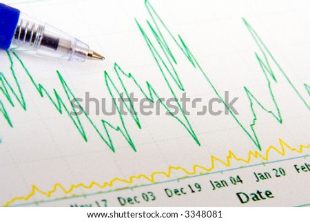 Pen held on graph - concept for finance/business/success - stock photo