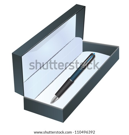 Pen in a box on the white background - stock photo
