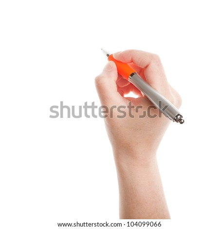 Pen in hand isolated on white