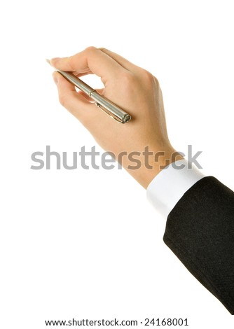 Pen in hand. Isolated on white background - stock photo