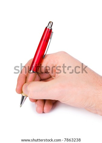 Pen in hand, isolated on white background