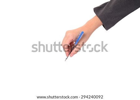 Pen in the business woman's hand, isolated on white background - stock photo