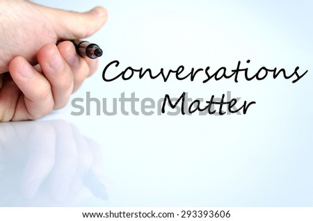 Pen in the hand isolated over white background and text concept - stock photo